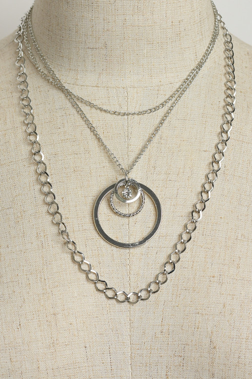 204-3-2-NE5892 TRIPLE CHAIN HOOP DESIGN NECKLACES/12PCS