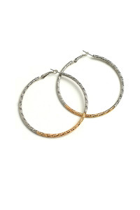 205-3-5-ANE4068 TWO TONE HOOP EARRINGS/12PCS