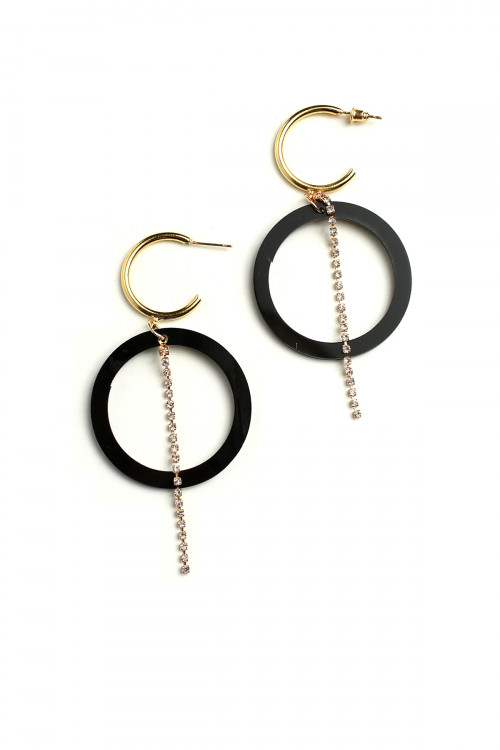 A2-3-3-ER6100 HOOP STONE DESIGN DROP EARRINGS/12PCS