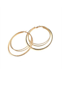 203-4-2-ER5370 TRIPLE LAYER STONE HOOP EARRINGS/12PCS