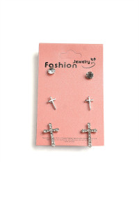 203-1-2-ER5185 CROSS SHAPE DESIGN EARRINGS/12PCS