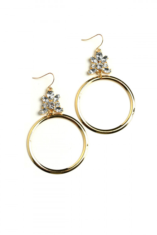 A1-3-5-ER5277 STONE DESIGN HOOP EARRINGS/12PCS