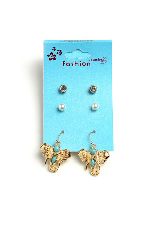A2-2-1-ER5130 ELEPHANT SHAPE STONE & PEARL EARRINGS/12PCS