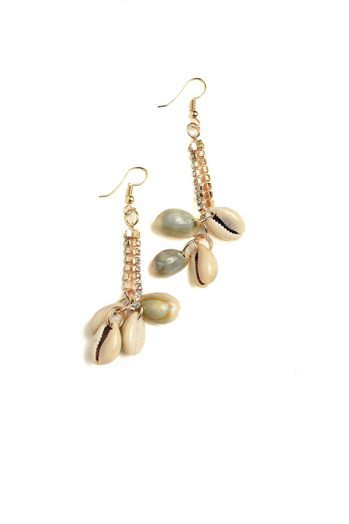 A1-1-1-AE3095 SHELL SHAPE STONE DROP EARRINGS/12PCS