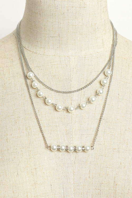 A1-1-1-AN1662 TRIPLE CHAIN PEARL NECKLACES/12PCS