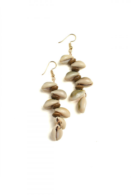 A1-1-1-AE2969 SHELL SHAPE DROP EARRINGS/12PCS