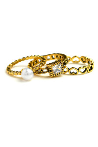201-4-3-LKR66778 TRIPLE LAYER STONE & PEARL RINGS/12PCS