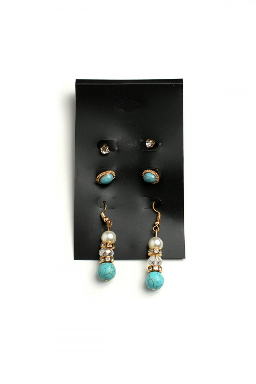 A1-1-5-LKE63934 STONE PEARL & GEM EARRINGS/12PCS