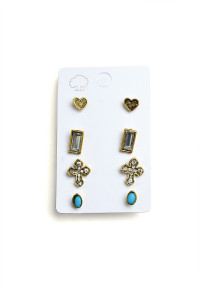 203-3-4-LKE65689 CROSS SHAPE STONE & GEM EARRINGS/12PCS