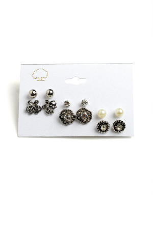 203-3-4-LKE63796 FLORAL DESIGN STONE & PEARL EARRINGS/12PCS