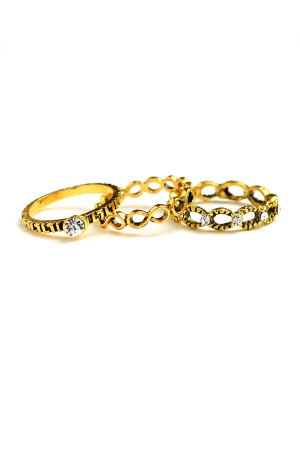 203-2-1-LKR66768 TRIPLE LAYER STONE RINGS/12PCS