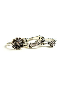 203-2-5-LKR66753 FLORAL TRIPLE LAYER RINGS/12PCS