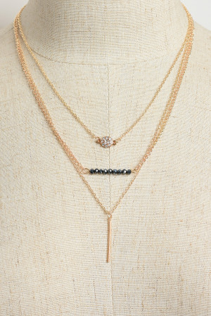 202-2-1-NLC5552 TRIPLE LAYER STONE CHAIN NECKLACES/12PCS