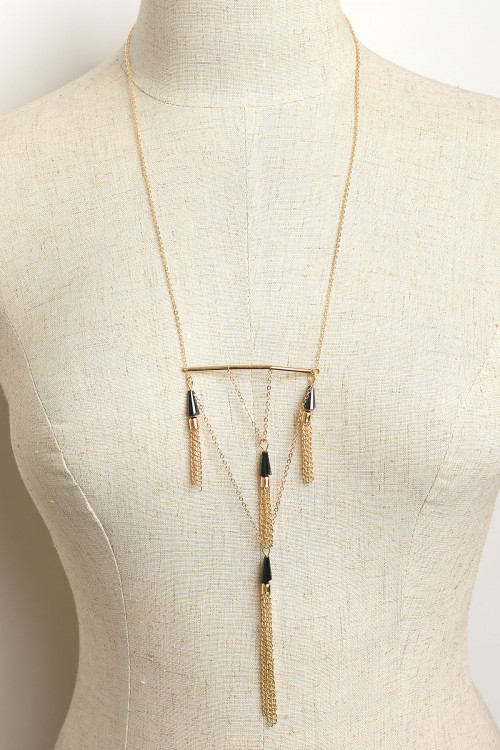 A1-3-4-NLC5542 MULTI TASSEL DESIGN CHAIN NECKLACES/12PCS