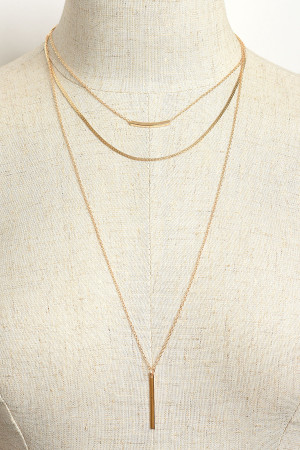 205-3-4-NLC5538 TRIPLE LAYER CHAIN NECKLACES/12PCS