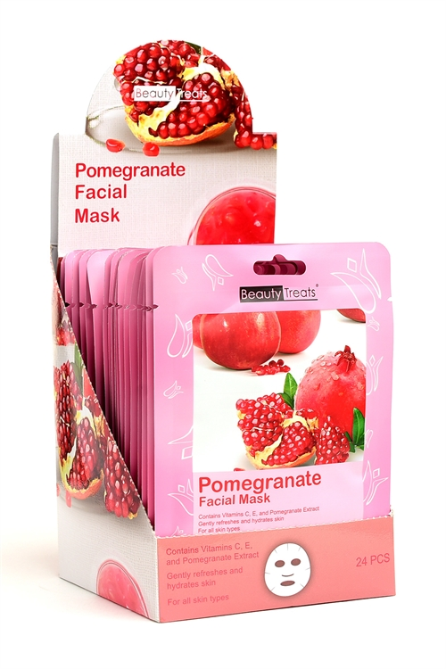 S1-4-3-203P POMEGRANT FACIAL MASKS/24PCS