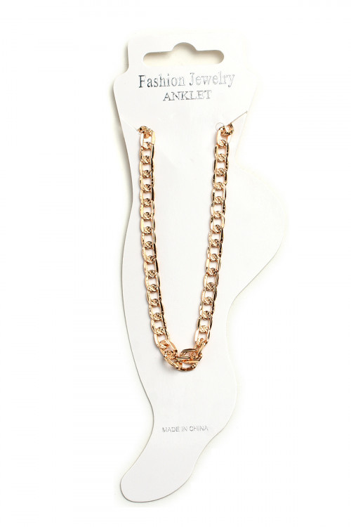 A1-2-1-AA1069 MULTI STONE CHAIN ANKLETS/12PCS
