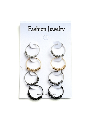 202-1-3-AE3288GS PEARL HOOP EARRINGS/12PCS