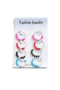 203-1-4-AE3288A BEAD HOOP EARRINGS/12PCS