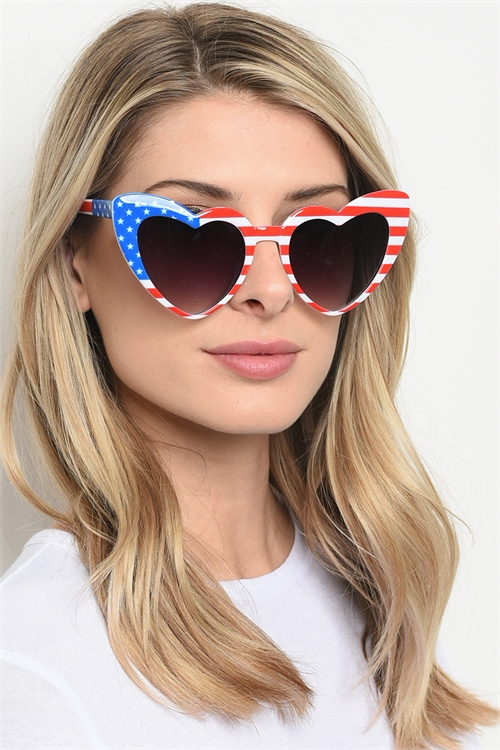 S1-6-5-P6349-HEARTFLAG SUNGLASSES/12PCS