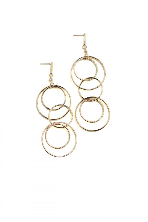 A2-3-4-DEC2217GS HOOP LAYER DROP EARRINGS/12PCS