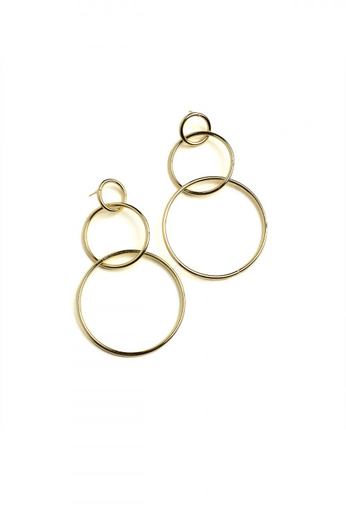A2-1-4-DEY3315GS HOOP LAYER DROP EARRINGS/12PCS