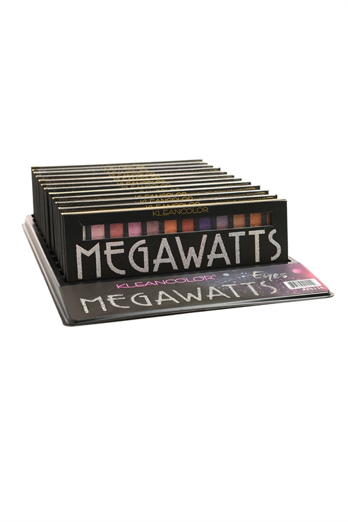 "S1-1-3-ES116 KLEANCOLOR ""MEGAWATTS"" EYESHADOW PALETTE/12PCS"