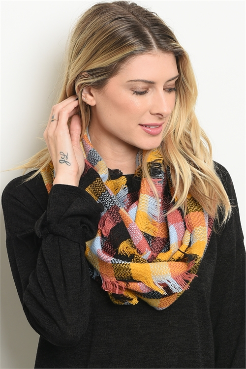 A3-3-4-NC4496 ASSORTED CHECKERED INFINITY SCARF/12PCS