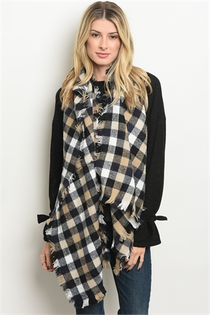 A3-1-4-SP4491 ASSORTED CHECKERED SCARF/12PCS