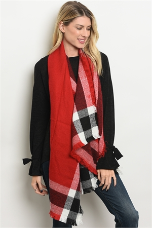 A3-1-4-SP4492 ASSORTED CHECKERED SCARF/12PCS