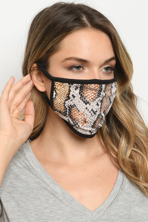 S3-4-2-MASK-F BROWN SNAKE REUSABLE FACE MASK FOR ADULTS/10PCS