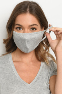 S11-2-2-MPL563 HEATHER GRAY REUSABLE FACE MASK FOR ADULTS/5PCS
