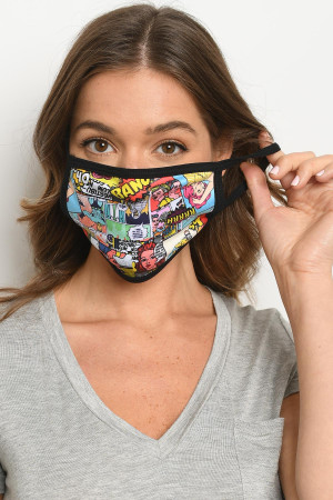 S15-10-2-MCOM516 COMICS PRINT REUSABLE FACE MASK FOR ADULT/10PCS