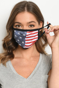 S15-11-2-MAF516 AMERICAN FLAG PRINT REUSABLE FACE MASK FOR ADULT/10PCS