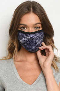 S15-8-3-MBAN526 NAVY BANDANA PAISLEY PRINT REUSABLE FACE MASK FOR ADULT/10PCS