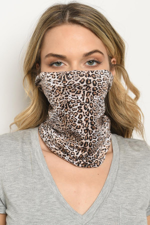S18-1-3-SLEEVE529 LEOPARD PRINT REUSABLE FACE COVER FOR ADULT/5PCS