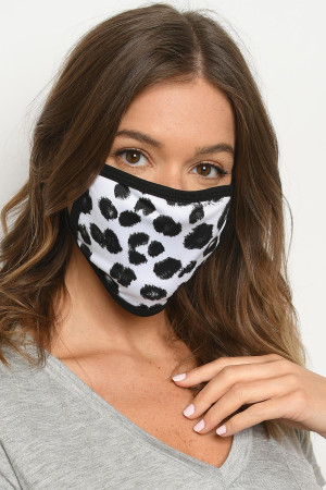 S18-1-3-MWHG62 WHITE GRAY ANIMAL PRINT REUSABLE FACE MASK FOR ADULT/10PCS