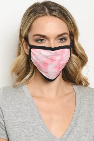S18-1-1-MTDP723 PINK TIE DYE REUSABLE FACE MASK FOR ADULT/10PCS