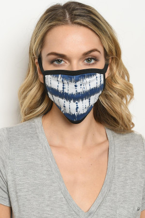 S18-1-2-MTDNW723 NAVY WHITE TIE DYE REUSABLE FACE MASK FOR ADULT/10PCS