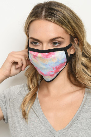 S18-1-3-MTDPB723 PINK BLUE TIE DYE REUSABLE FACE MASK FOR ADULT/10PCS