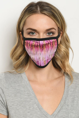 S16-7-3-MTDMB723 MAGENTA BROWN TIE DYE REUSABLE FACE MASK FOR ADULT/10PCS