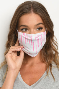 S18-2-1-MWP729 WHITE PINK TIE DYE REUSABLE FACE MASK FOR ADULT/10PCS