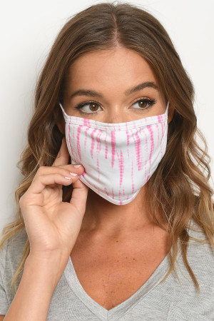 S16-7-3-MWP729 WHITE PINK TIE DYE REUSABLE FACE MASK FOR ADULT/10PCS