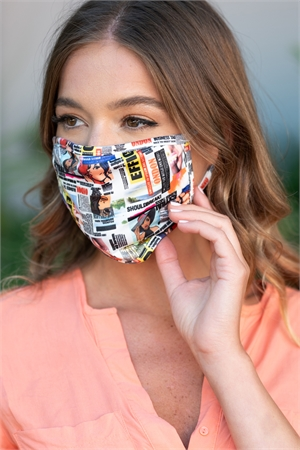 S19-2-2-MMAGZ731 MAGAZINE PRINT REUSABLE FACE MASK FOR ADULT/10PCS