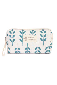 S7-4-5-AJ122-1 BLUE LEAF ART COSMETIC POUCH/6PCS