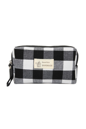 SA3-1-1-AJ122BK BLACK PLAID ZIPPER COSMETIC BAG/6PCS