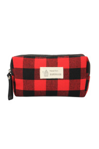 SA3-1-1-AJ122RD RED PLAID ZIPPER COSMETIC BAG/6PCS