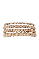 S24-4-1-JBA394GD-MULTILAYERED CCB BALL CHAIN BRACELET-GOLD/6PCS