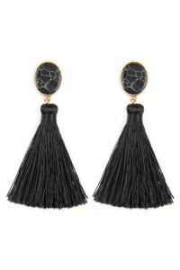 A2-3-3-AJEB141WGBLK BLACK STONE WITH TASSEL POST EARRINGS/6PAIRS