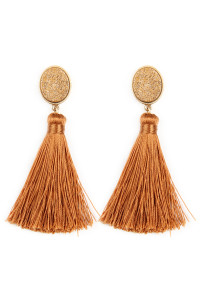 S22-6-3-JEB141WGBRW - STONE WITH TASSEL POST EARRINGS - BROWN/6PCS